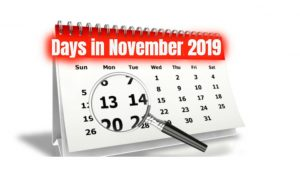 How many days in november 2019